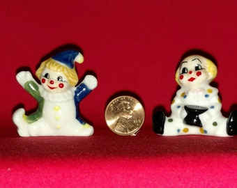 vintage china miniature clowns figurines