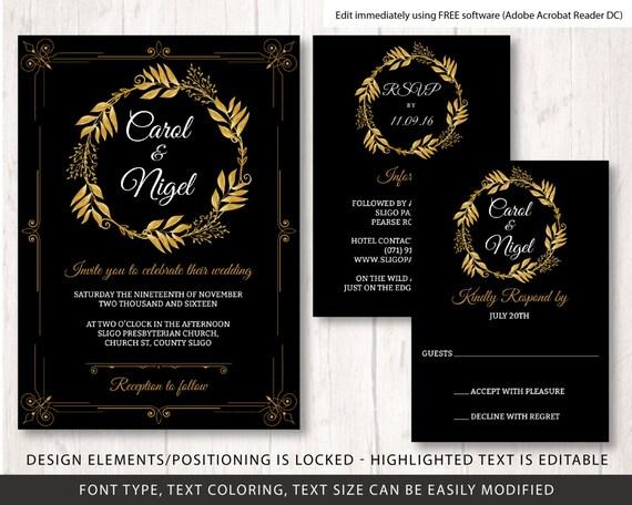 gold and black wedding invite template wedding invite template