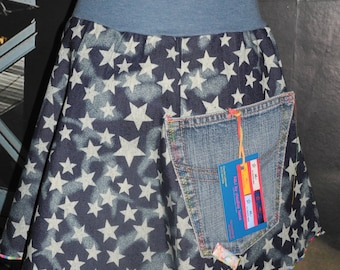Unique Blue Star rock with Upcycling jeans Gr. 110/116