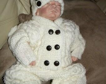 Hand knitted ARAN pram suit 0-3 months