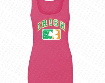 Irish Flag Ireland Flag with Irish Colored Shield Women's Tank Top USA Flag 4th of July Tanks St Patrick's Day