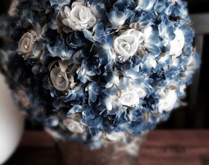 Silk Floral Centerpiece - Client Specified Color - Royal Blue and Silver