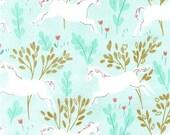 Unicorn Forest in Aqua || Magic! Collection by Sarah Jane for Michael Miller Fabrics || Half Yard || One Yard || Metallic Cotton