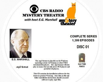 CBS Radio Mystery Theater - 1,399 Shows of Old Time Radio in MP3 Format OTR 21 CDs (Complete Series)