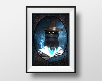 Post witch cat - Digital Illustration printed on A4 photo paper