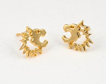 Earrings gold - colored lion