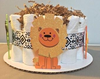 Set of 4 Safari Baby Diaper Cakes