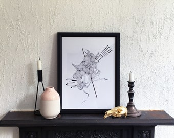 A3 Stork Hand Illustrated Fine Art Print