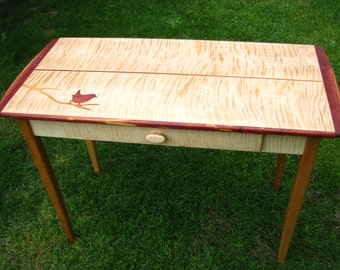 Handmade curly maple and cherry side table, hall table, entry table