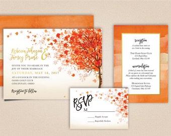 Printable Fall Wedding Invitation Suite