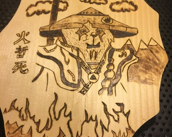 World of warcraft-Pandaren Wood burning art.