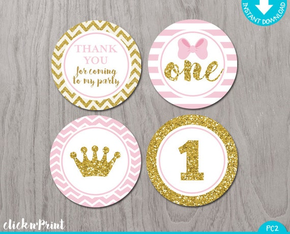 Pink and Gold Print Yourself Cupcake Toppers Printable Party