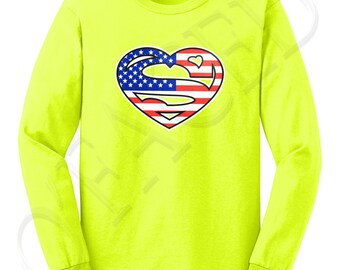 Super American Adults LS Tees Super American Men's Long Sleeve T-shirt Superman Inspired Logo  - 1074C_GMLS
