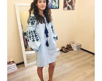 Ukrainian vyshyvanka tunic of ice blue linen, aquamarine embroidery - boho chic ethnic short dress - modern folk style