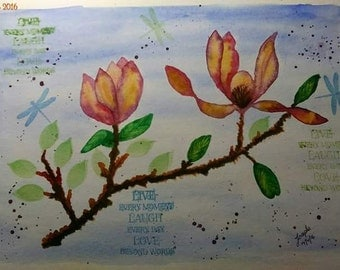Watercolour, mixed media, live, laugh, love and flowers