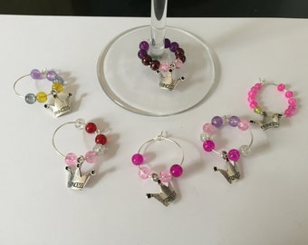Set of 6 Princess Wine Glass Charms