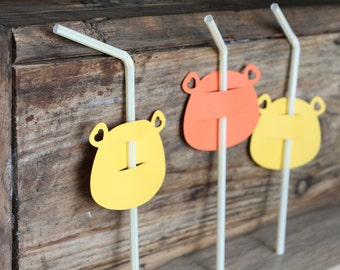 Critter party-lion, 12-piece Lion drinking straw, birthday party,first birthday