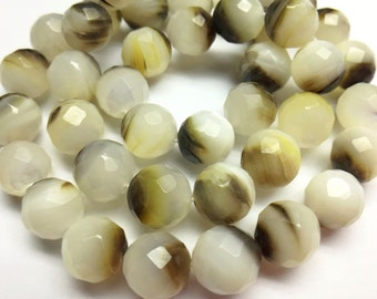 Brown Mother Of Pearl Checker board cutting Round Beads with full drilled - 6.5-7mm ~ 5pcs