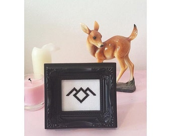 Twin Peaks Black Lodge White Lodge Completed Cross Stitch in Ornate Frame