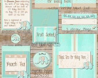 Elephant Baby Shower Set S3