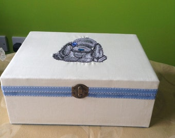 Baby boy large Keepsake memory trinket christening box