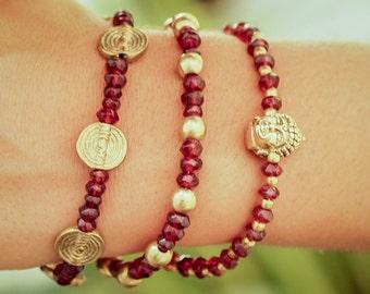 Buddha Bracelet // Garnet Bracelet // Multistrand Bracelet // Woman Bracelet // Yoga Bracelet // Meditation Bracelet // Indian Bracelet