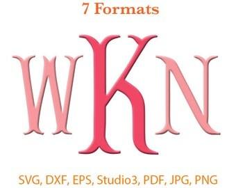 Fishtail Monogram Font SVG ( Studio 3 / dfx / eps / png / jpg / pdf) Silhouette Studio,Cricut Files,SVG files for cricut,Silhouete Cameo