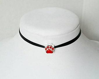 Paw Print Choker Paw Print Necklace Animal Necklace Animal Choker Dog Lover Veterinarian Jewelry Black Choker Thin Choker Cosplay Choker