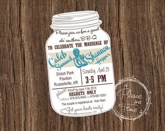 Printable Mason Jar BBQ Invitation