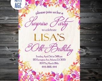 Surprise Birthday Invitation,Shhhhh It's a Surprise,Adult Surprise Birthday Invitation,30th 40th 50th 60th 70th Any Age Bday Invite