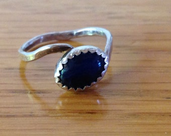 Sterling Silver Stackable Child's Ring with Navy Blue Gemstone, approx. size 3
