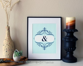Chic ,Preppy and Stylish Home Decor Graphic Print '&'. Instant downloadable Art, Graphic Art, Home Decor