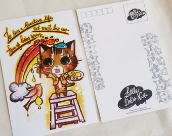 Motivation Postcard - Cat illustration - To live a creative life, we must lose our fear of being wrong.