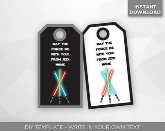 SALE - 80% OFF Star Wars Thank You Tags, Birthday Party Decoration, Thank You Note Card, Editable Printable PDF Template - Instant Download