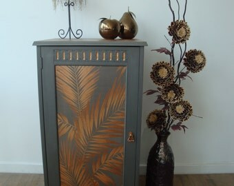 Copper and Grey / Bronze Palm Leaf Decoupaged Cupboard / Cabinet with Shelves