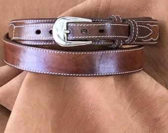 Genuine Leather Belt Burnished Tan