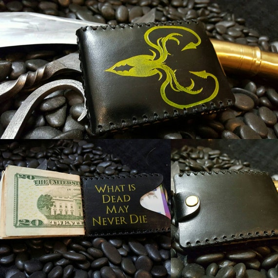 "Premium Black Leather Greyjoy Wallet ""What is Dead May Never Die"""
