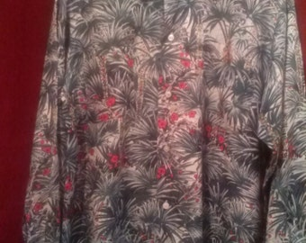 Vintage 1950s Hawaiian Shirt / Long Sleeves 2 Pockets / HAWAII