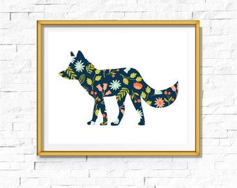 DIY Tribal Nursery Print | Woodland Print | Fox Art Boho | Bohemian Nursery Wall Decor | Wall Art Printable | Fox Floral | Bodhi