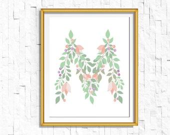 Instant Download Personalized Name Nursery Printable Monogram Art Print   Custom Nursery Printable Monogram Floral Letter M   FA-749 M-128P