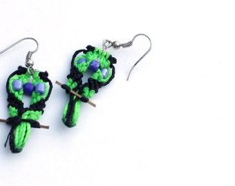 Sale: Green Bird Earrings, Parrot Jewelry, Fair Trade Beach Earrings, Made in Nicaragua