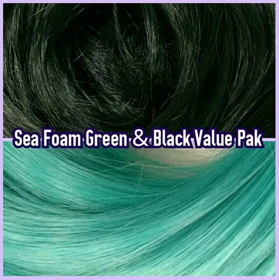 Black & Sea Foam Green XL 4oz 2 Color Value Pak Nylon Doll Hair Hanks Rerooting Monster High Ever After Barbie My Little Pony Crissy Sindy
