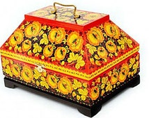 Caskets 230x155 with Khokhloma style painting Traditional Russian Folk Art Collectable Painted Wood Home decor