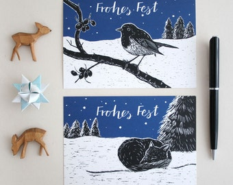 Pack of  2 christmascard with fox and robin, forest animal illustration, bird, scratchboard, seasons greetings, black, blue, happy holidays
