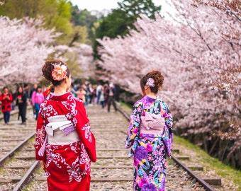 Japanese In Kimono, Large Wall Art, Japan Yukata Kimono, Kimono Spring Photo, Cherry Blossom Japan, Sakura Kimono Canvas, Home Decoration