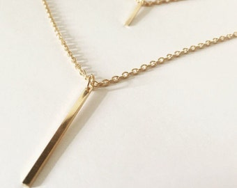 Double Layered 18k Gold Filled Bar Necklace