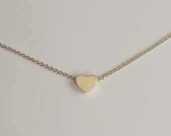 18k Gold Filled Solid Heart Pendant Necklace