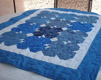 Comfy Blue Lap Quilt - a custom hand made blanket quilt