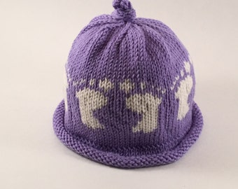 Hand Knit Baby Footprints Hat
