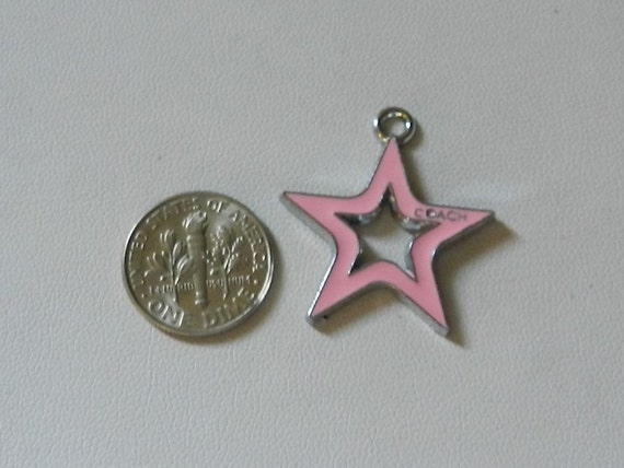 Silver Pink Enameled  Star Coach Charms V5209
